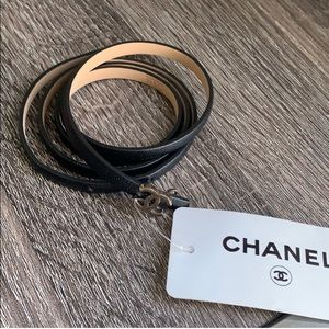 Genuine Chanel skinny leather belt